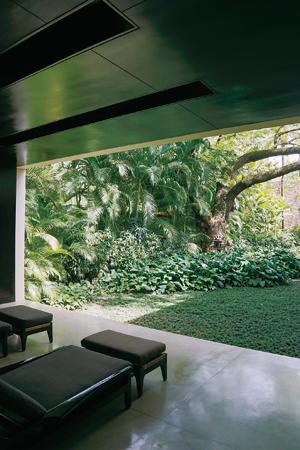 スパのレセプションエリアから望む中庭